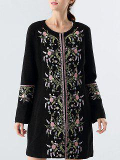 Wool Blend Embroidered Floral Coat - Black M