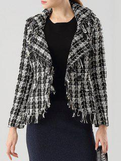 Plaid Frayed Lapel Jacket - White And Black S