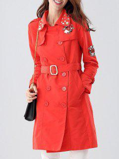 Faux Stone Double Breasted Trench Coat - Red S