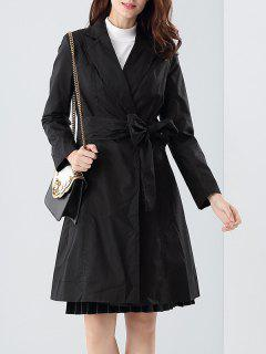 Tie Belt Skirted Trench Coat - Black S