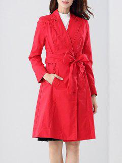 Tie Belt Skirted Trench Coat - Red S