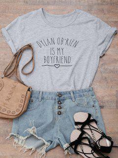 Short Sleeve Letter Print Boyfriend T-Shirt - Gray 3xl