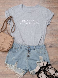 Short Sleeve Letter Boyfriend T-Shirt - Gray M