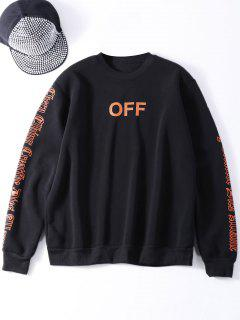 Oversized Velvet Sweatshirt With Letter Print - Black