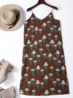Tiny Floral Midi Pinafore Dress - Brown S
