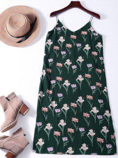 Robe Chasuble Mi-longue Imprimée De Fleurs Minuscules - Vert Foncé S