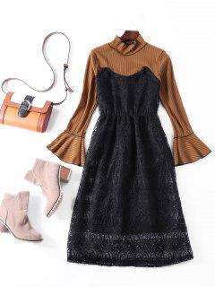 Flare Sleeve Lace Panel Midi Dress - Brown