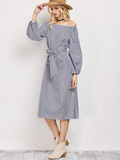 Blouson Sleeve Off The Shoulder Dress - Blue And White L