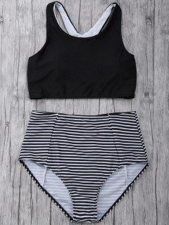 Striped High Waisted Bikini Set - Black M