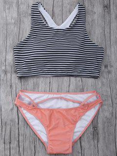 Striped High Neck Cutout Bikini Set - Orangepink Xl