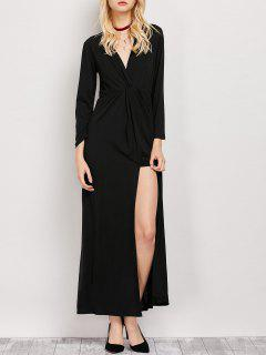 Long Sleeve Maxi Plunge Dress With Slit - Black S