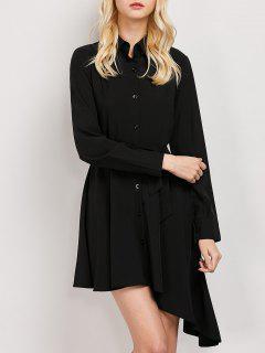 Vestido De La Camisa Del Lazo De La Correa Asimétrica - Negro S
