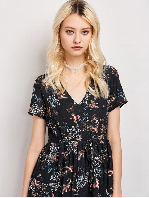 ladies Tiny Floral V Neck Maxi Dress - BLACK M Mobile