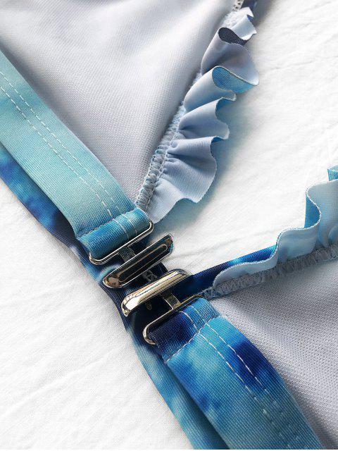 lady Frilled Plunge Thong Bikini Set - BLUE S Mobile