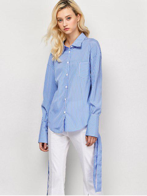 hot Striped O Ring Back Sleeve Tie Shirt - BLUE AND WHITE L Mobile