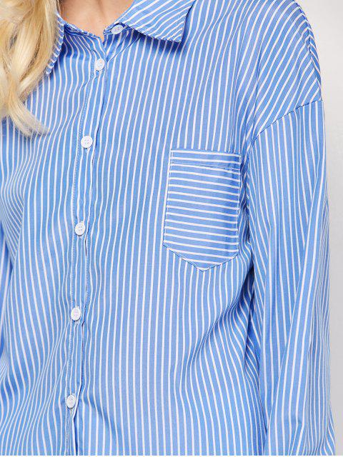 outfits Striped O Ring Back Sleeve Tie Shirt - BLUE AND WHITE S Mobile