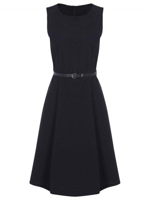 fancy Jewel Neck Vintage Dress with Belt - BLACK 2XL Mobile