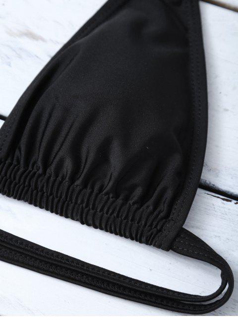 new Halter Cutout Stripe Panel Bikini Set - WHITE AND BLACK M Mobile