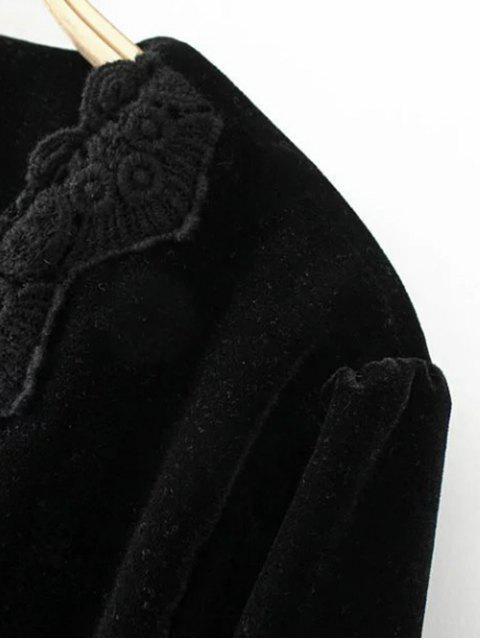 women Long Lantern Sleeve Velvet Blouse - BLACK L Mobile