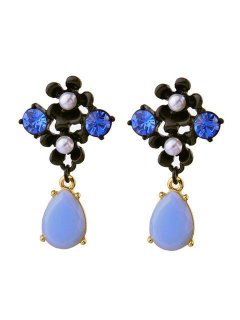 womens Faux Pearl Rhinestone Teardrop Flower Earrings -   Mobile