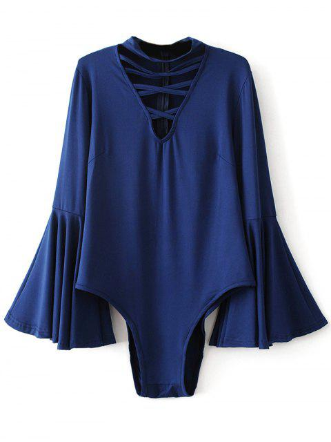 fashion Strappy Flare Sleeve Bodysuit - DEEP BLUE L Mobile