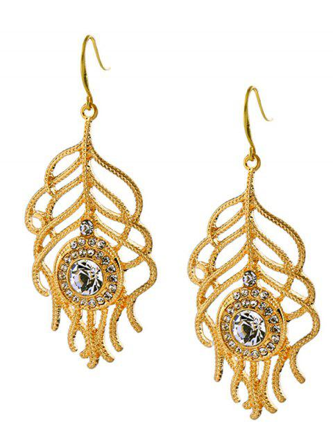 outfit Hollow Out Rhinestone Leaf Drop Earrings -   Mobile