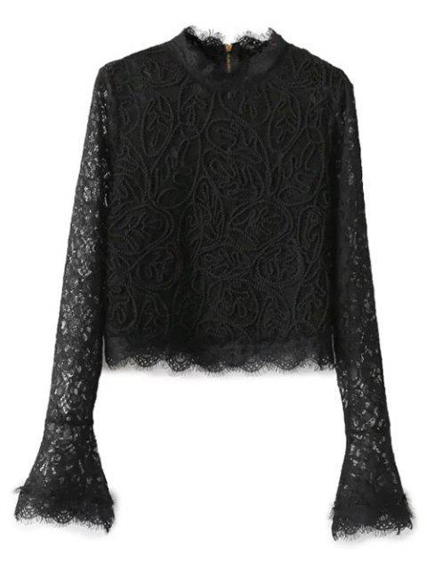 hot Belled Sleeve Mock Neck Lace Top - BLACK M Mobile