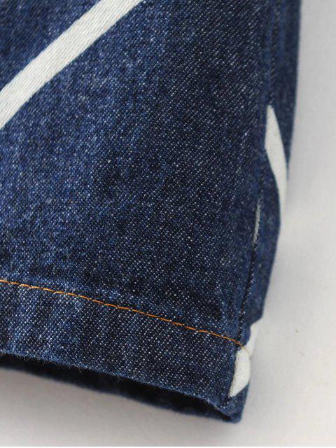 fashion Denim Printed Shirt Dress - BLUE S Mobile