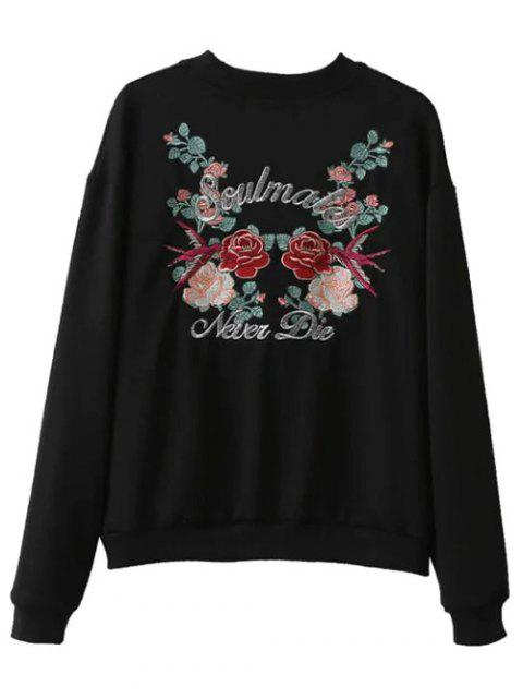 affordable Embroidered Relaxed Pullover Sweatshirt - BLACK M Mobile
