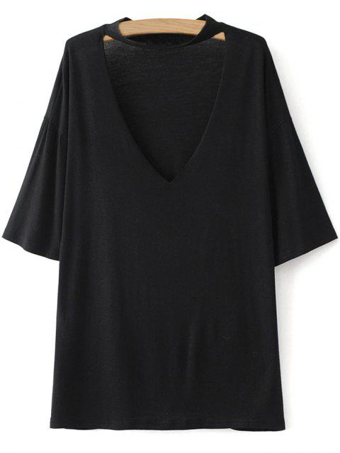 chic Drop Shoulder Choker Tee - BLACK S Mobile