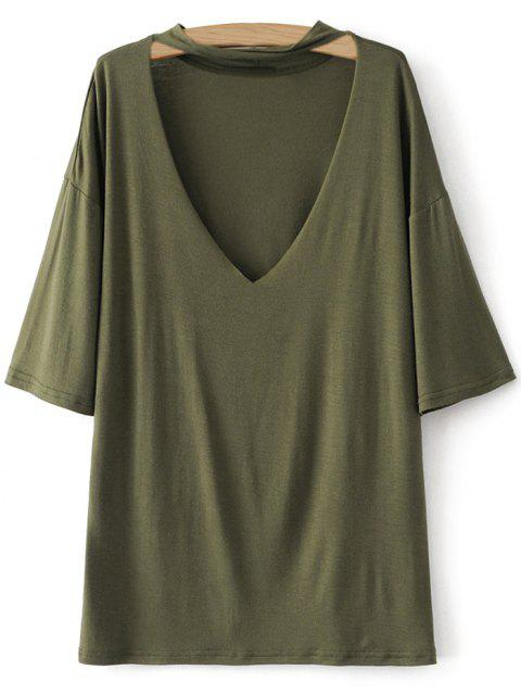 unique Drop Shoulder Choker Tee - GREEN M Mobile