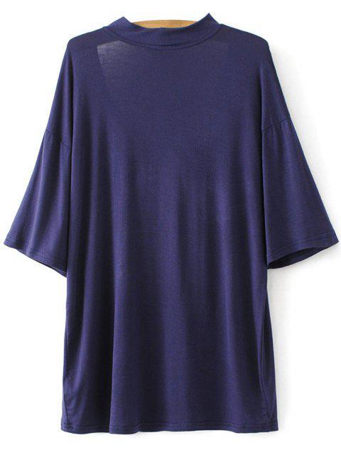 buy Drop Shoulder Choker Tee - VIOLET BLUE M Mobile