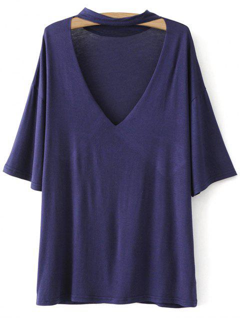 womens Drop Shoulder Choker Tee - VIOLET BLUE S Mobile