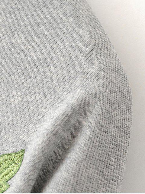 chic Floral Embroidered Sweatshirt Dress - BLACK L Mobile