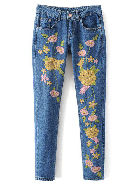 fashion Flower Embroidered Straight Jeans - DENIM BLUE L Mobile