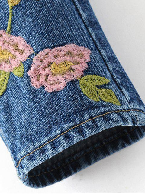 fancy Flower Embroidered Straight Jeans - DENIM BLUE S Mobile