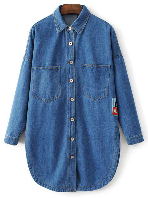 latest Pocket Cartoon Patch Jean Shirt - DENIM BLUE L Mobile