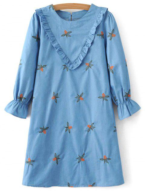 buy Frilled Chevron Pattern Tunic Dress - BLUE L Mobile