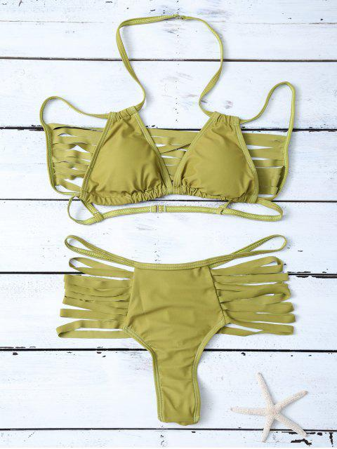 women's High Leg Strappy Cutout Bikini Set - GREEN S Mobile