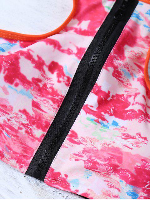 lady Full Zip Racerback Tie-Dyed Bikini Set - ROSE RED L Mobile