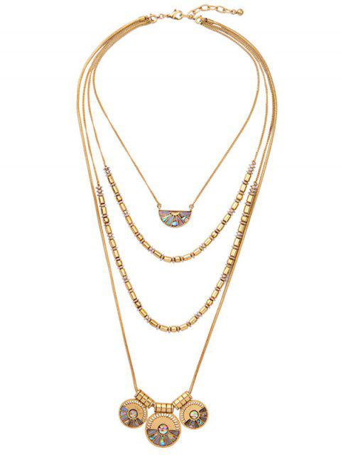women's Faux Gem Circle Layered Necklace - GOLDEN  Mobile