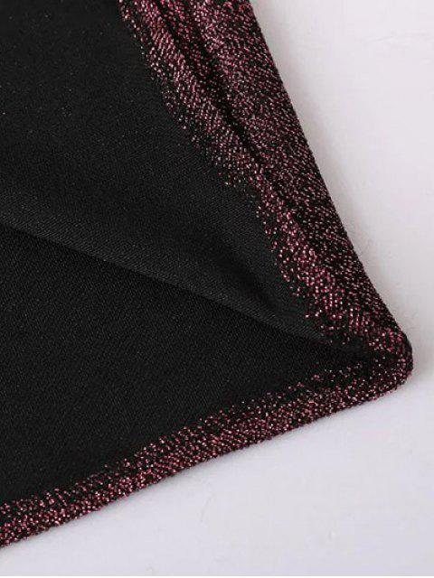 trendy Glitter Midi Pencil Dress - BLACK S Mobile
