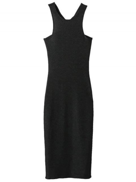 latest Glitter Midi Pencil Dress - BLACK M Mobile