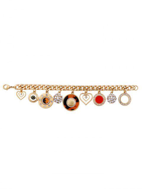 Pulsera Imitación Diamantes Diseño Circular Amuleto Corazón - Dorado  Mobile