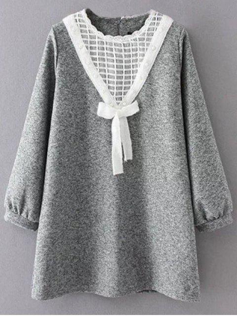 unique Knit Panel Trapeze Tweed Dress - GRAY 2XL Mobile