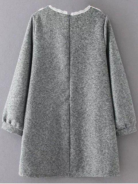 sale Knit Panel Trapeze Tweed Dress - GRAY XL Mobile