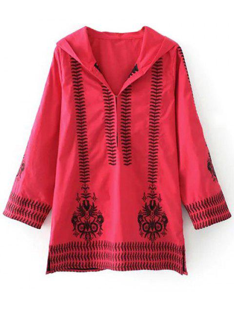 new Totem Embroidered Hooded Tunic Dress - RED L Mobile