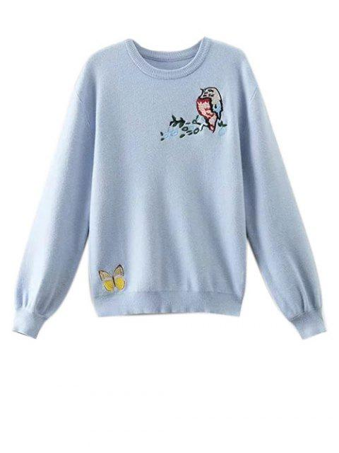 women Animal Embroidered Fuzzy Sweater - LIGHT BLUE XS Mobile