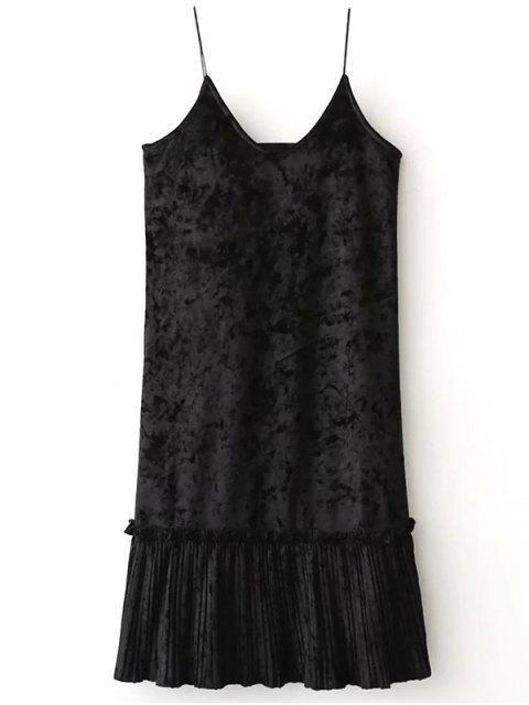 sale Pleuche Pleated Cami Dress - BLACK ONE SIZE Mobile