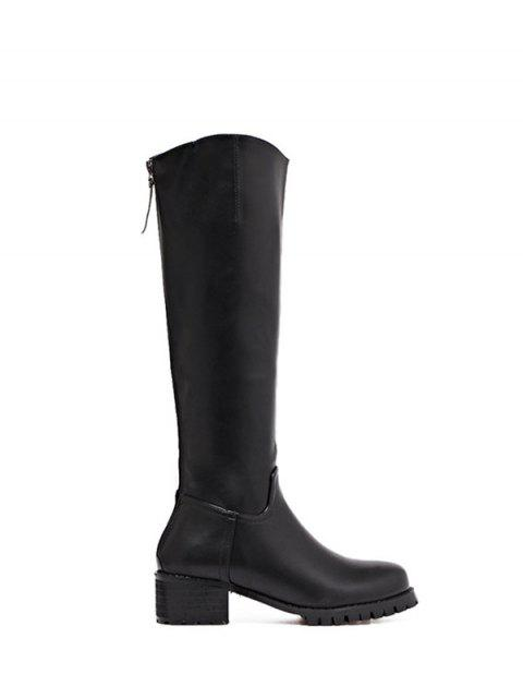 affordable Faux Leather Zip Knee High Boots - BLACK 38 Mobile